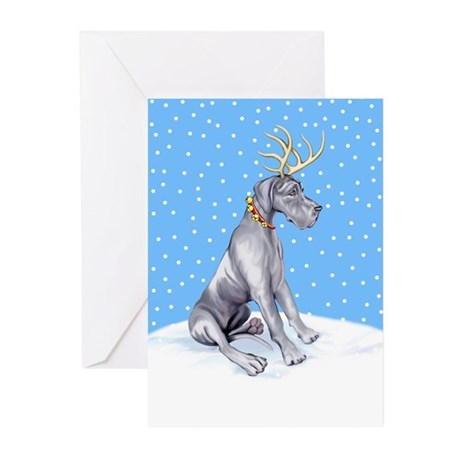 Great Dane Deer Blue UC Greeting Cards (Pk of 10)