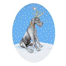 Great Dane Deer Black UC Oval Ornament