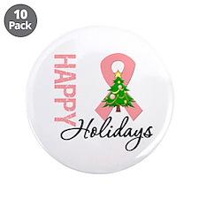 """Peach Ribbon Christmas 3.5"""" Button (10 pack)"""