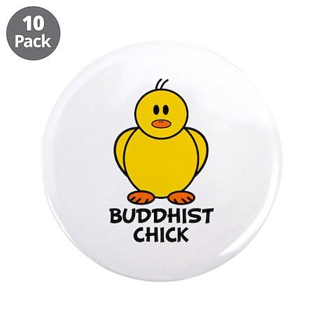 "Buddhist Chick 3.5"" Button (10 pack)"