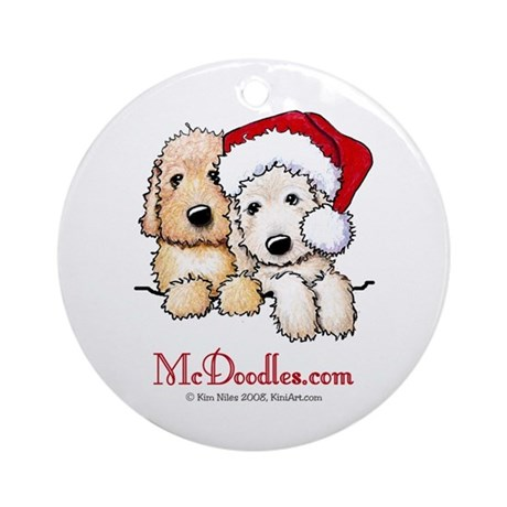 Holiday Pocket Doodle Duo Ornament (Round)