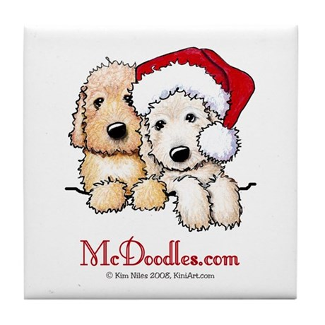 Holiday Pocket Doodle Duo Tile Coaster