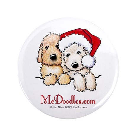 """Holiday Pocket Doodle Duo 3.5"""" Button (100 pack)"""