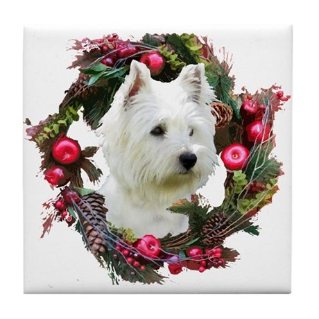 Warm Westie Wishes Tile Coaster
