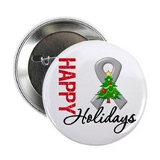 "Grey Ribbon Christmas 2.25"" Button (10 pack)"