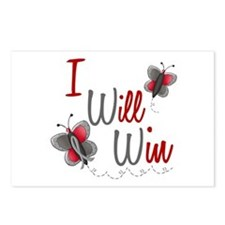 I Will Win 1 Butterfly 2 GREY Postcards (Package o