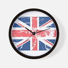 Worn and Vintage British Flag Wall Clock