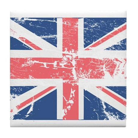 Worn and Vintage British Flag Tile Coaster