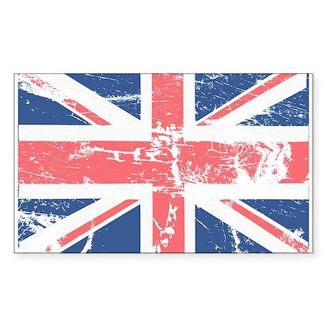 Worn and Vintage British Flag Rectangle Sticker