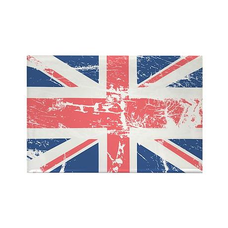 Worn and Vintage British Flag Rectangle Magnet (10