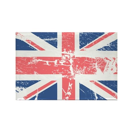Worn and Vintage British Flag Rectangle Magnet