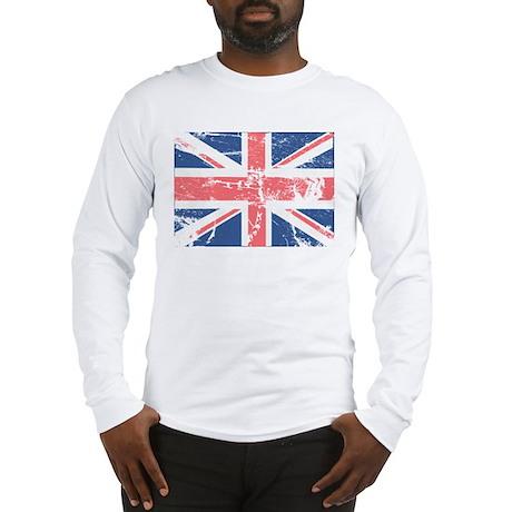 Worn and Vintage British Flag Long Sleeve T-Shirt