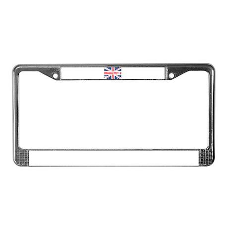 Worn and Vintage British Flag License Plate Frame