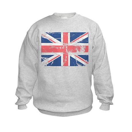 Worn and Vintage British Flag Kids Sweatshirt