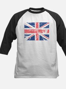 Worn and Vintage British Flag Kids Baseball Jersey