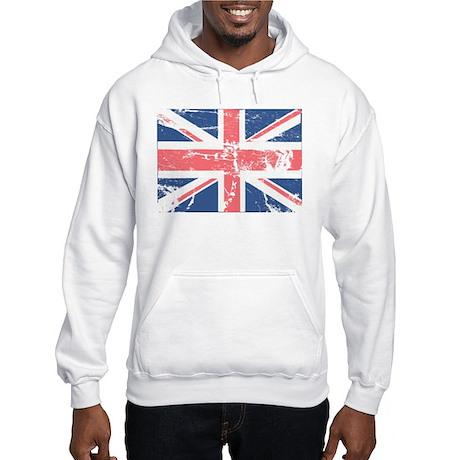 Worn and Vintage British Flag Hooded Sweatshirt