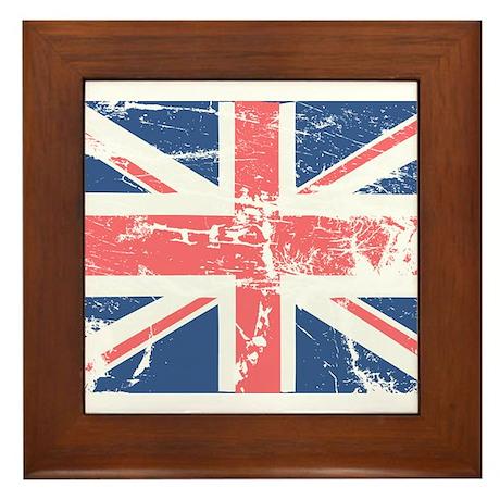 Worn and Vintage British Flag Framed Tile