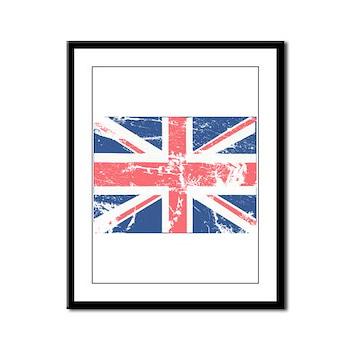 Worn and Vintage British Flag Framed Panel Print