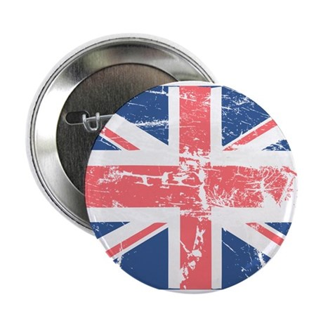 """Worn and Vintage British Flag 2.25"""" Button (100 pa"""