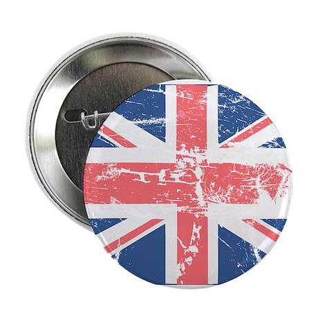 """Worn and Vintage British Flag 2.25"""" Button (10 pac"""