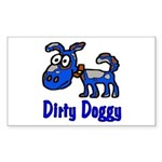 Dirty Blue Doggy Rectangle Sticker