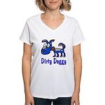 Dirty Blue Doggy Women's V-Neck T-Shirt