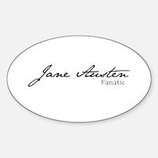 Jane Austen Fanatic Oval Decal