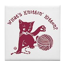 What's Knittin' Tile Coaster