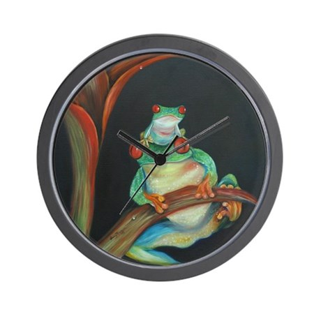 Red Eyed Tree Frog and Baby Wall Clock