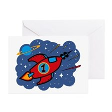 Rocket Ship 1st Birthday Greeting Cards (Pk of 10)