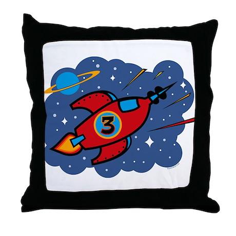 Rocket Ship 3rd Birthday Throw Pillow