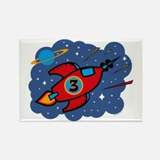 Rocket Ship 3rd Birthday Rectangle Magnet