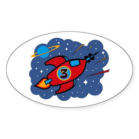Rocket Ship 3rd Birthday Oval Sticker