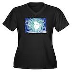 Wild Dryad Women's Plus Size V-Neck Dark T-Shirt