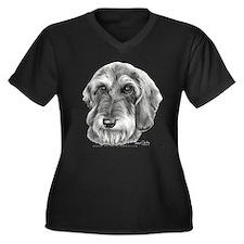 Cute Wire haired dachshund camisole Women's Plus Size V-Neck Dark T-Shirt