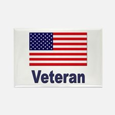 American Flag Veteran Rectangle Magnet