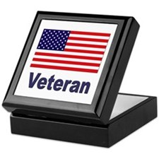 American Flag Veteran Keepsake Box