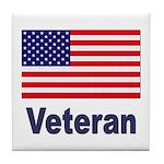 American Flag Veteran Tile Coaster