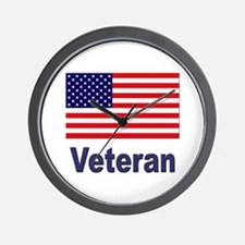 American Flag Veteran Wall Clock