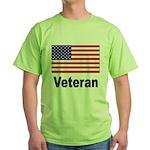 American Flag Veteran Green T-Shirt