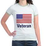 American Flag Veteran (Front) Jr. Ringer T-Shirt
