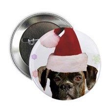"""Christmas Boxer Dog 2.25"""" Button (100 pack)"""