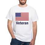 American Flag Veteran (Front) White T-Shirt