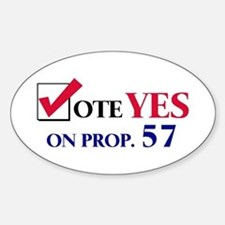 Vote YES on Prop 57 Oval Bumper Stickers