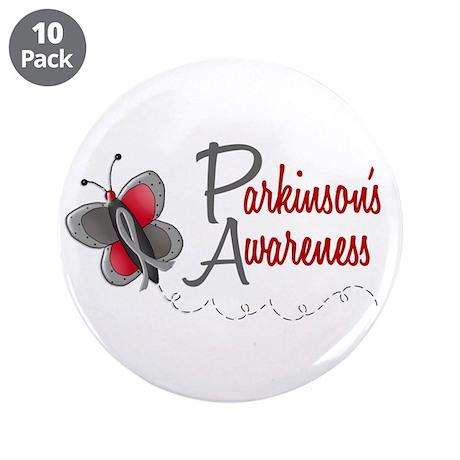 """Parkinson's Awareness 1 Butterfly 2 3.5"""" Button (1"""