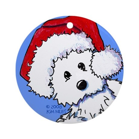 Santa Baby Westie Ornament (Round)