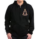 Bacon Christmas Tree Zip Hoodie (dark)