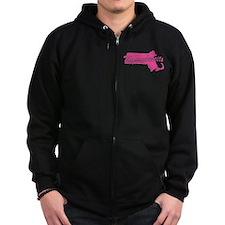 Pink Massachusetts Zip Hoodie