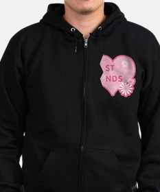 Pink Best Friends Heart Right Zip Hoodie