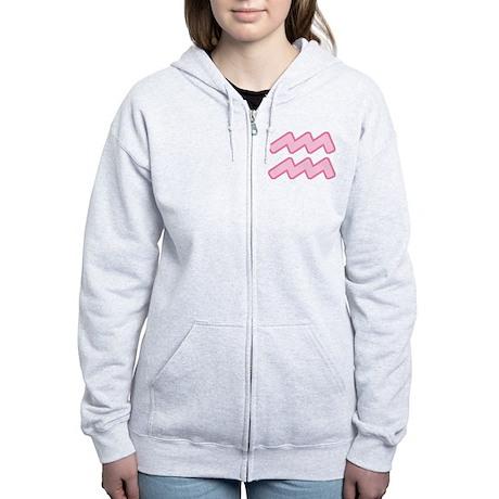 Pink Zodiac Aquarius Women's Zip Hoodie